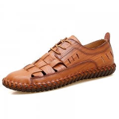 Mens Genuine Leather Summer Shoes New Beach Men Casual Shoes Outdoor Hole Sandals Lace Up brown 38