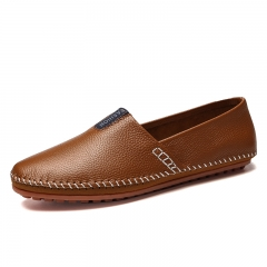 Luxury Handsome New Men Loafers Casual Summer Shoes Leather Slip On Driving Soft Moccasins brown 39