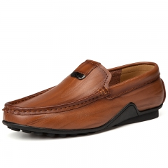 Men Leather Loafer Boat Shoes Slip On Flats Walk Drive Moccasins Breathable British Style brown 39