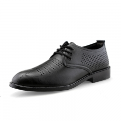 New Summer Men Dress Shoes Pointed Toe Oxfords Business Office Style Hollow Out Design Breathable black 38