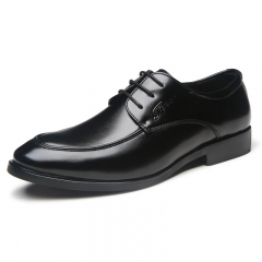 Elegant Design Handsome Men Oxford Shoes Lace Up Formal Business Dress Pointed Shoes black 38
