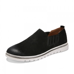 Simple Design Retro Handmade Suede Leather Slip On Shoes Men Casual Oxfords Loafers black 39