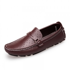 New Men Boat Shoes Split Leather Moccasins Male Loafers Driving Shoes Soft Hollow Out brown 39