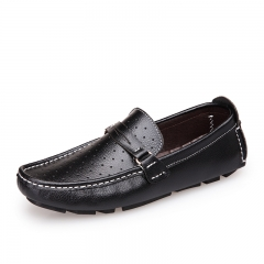 New Men Boat Shoes Split Leather Moccasins Male Loafers Driving Shoes Soft Hollow Out white 38