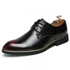 Luxury Men's Pointed Toe Dress Shoes Brogue Party Wedding Oxford Business Stylist red 38