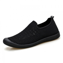 Summer Men Handmade Flat Shoes High Quality Man Loafers Solid Fly Knitted Slip On Breathable black 39