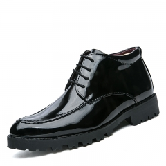 High Quality Winter Men Formal Boots Autumn Shoes Casual High Top Warm Leather Gentleman black 38