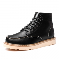 British Winter Leather Men's Boots High Top Casual Brogue Shoes Outdoor Ankle Mens Work Boots black 38
