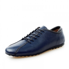New Vintage Brand Luxury Formal Men's Shoes Breathable Genuine Leather Lace Up Dress Shoe Business blue 39