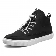 Men Canvas Sneakers Shoes Fashion High Top Casual Shoes Breathable Man Lace up Student Style black 39