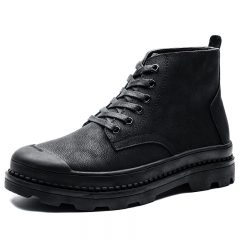 High Quality Cool Winter Men Desert Boots Formal Autumn Shoes Casual High Top Warm Leather black 38