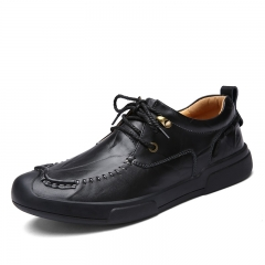 New Autumn Winter Warm Brogue Men Wingtip Shoes Casual Lace Up Leather Man Formal black 38