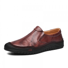 Classic Elegant Italian Men Slip On Formal Dress Shoes Genuine Leather High Quality brown 39