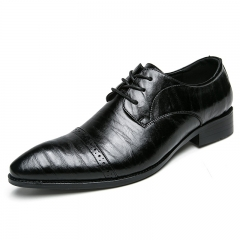 Office Men Dress Shoes Pointed Toe Leather Formal Black Wedding Shoes Breathable Business black 38
