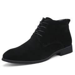 Winter Men Boots Vintage Casual Men Shoes High Tops Lace-Up Warm Desert Boots Good Quality black 38