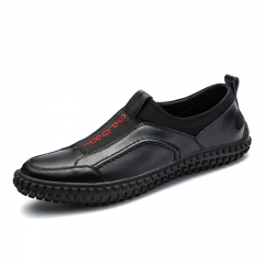 New Fashion Hip Hop Shoes Men High Quality Leather Shoes Casual Slip On Cool Loafer black 39