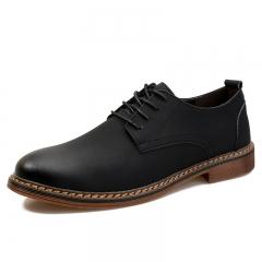 British Autumn Brogue Men Wingtip Shoes Genuine Leather Man Flats Formal Wedding black 38