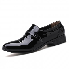 Big Size Office Men Dress Shoes Pointed Toe Leather Formal Shoes Business Wedding black 38