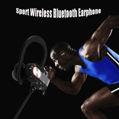 Wireless Bluetooth Earphone Sport Waterproof Ear Hook Headphone with Mic for Phone Computer grey