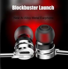 New Al Alloy Metal Earphone Monitoring Level HIFI Music In-ear Headset with Microphone for Phone PC silver