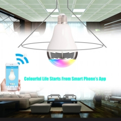 Wireless E27 Bluetooth LED Stereo Audio Speaker RGB Colour White Bulb Music Lamp for Smart Phone white 80X142X27mm