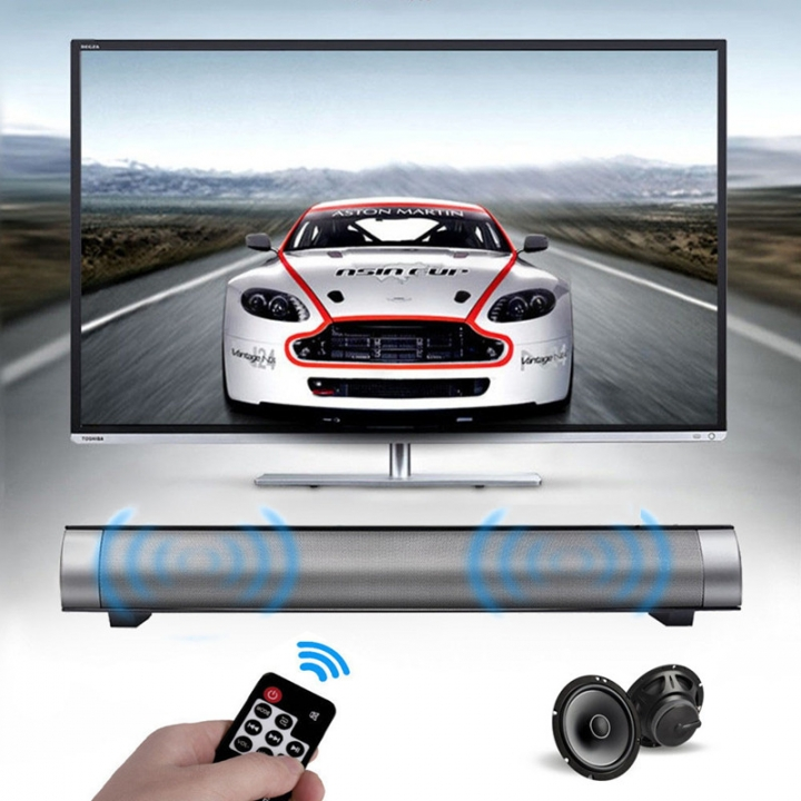 Strong Super Bass Dual 5W Bluetooth Sound Bar HIFI Wireless Stereo Speakers with Remote Control black 17.75x2.2x2.1inch