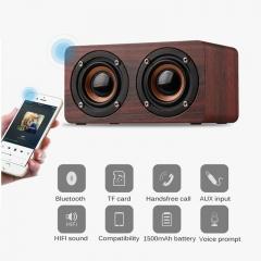 Strong Super Bass Dual 5W Wooden Bluetooth Speaker Portable HIFI Wireless Stereo Speakers Beige 150x85x75mm