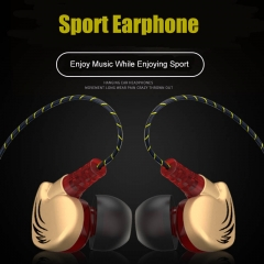 Sport Waterproof Headset Heavy Bass Earphone Stereo Music Headphone with Mic for Phone Computer MP3 gold