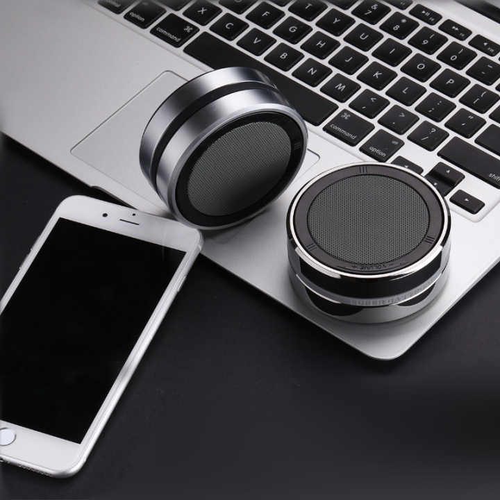 Mini Stainless Steel Wireless Bluetooth Speaker Super Bass Audio Receiver HIFI Stereo Soundbox black 75x75x35mm