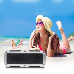 Powerful Super Bass Dual 10W Bluetooth Speaker Portable IP67 Waterproof Wireless Stereo Speakers silver 10x3.75x2.62inch