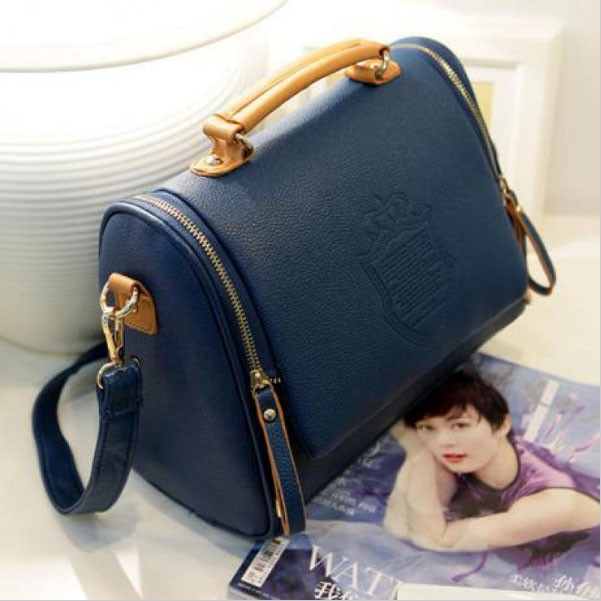 Women PU shoulder bag British crown clutch handbags blue one size