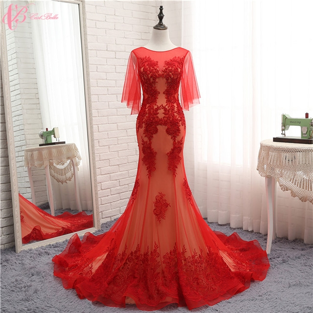 Aliexpress Chic Long Train Latest Luxury Wedding Gown Designs Red ...