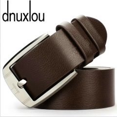 Business Leisure Wide PU Faux Leather Belt Men Designer Belts Elegant Shining Metal Buckle 125cm brown