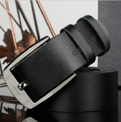 Business Leisure Wide PU Faux Leather Belt Men Designer Belts Elegant Shining Metal Buckle 125cm black