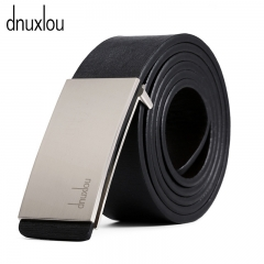 Designer Smooth Buckle Male Belt Business Casual PU Belts for Men 110-125cm Fashion Strap Men silver