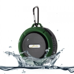 Shower Speaker Elivebuy Waterproof Bluetooth V4.2 5W Driver Suction Cup Function Built-in Mic army green 600mah 1
