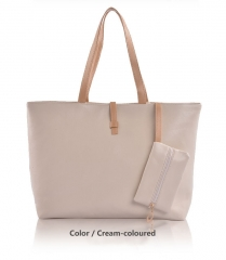 Joyism High Capacity Handbag Fashion Buckle Shoulder bag. One large and one small Cream-coloured f