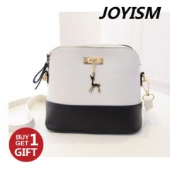 Joyism Handbag New Pattern Lovely Deer Shell Bag black and white f