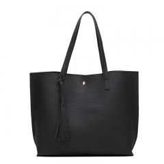 Joyism Handbag Popular Solid Color Fashion Tote Bag,Ladies Shoulder Bag black f