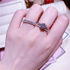 2 PCS rings for women Jewelry Set  925 Sterling silver Wedding party diamond female finger ring silver 8
