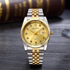 classic calendar wrist watch for man stainless steel waterproof  brand luxury diamonds watches men gold gold