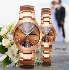 2 PCS watches for man woman coffee gold steel strap date week quartz couples lovers wrist watch gift coffee gold