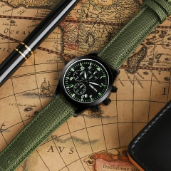 US pilot Military Watch Men outdoor Sport Date Chronograph army male Quartz watches green