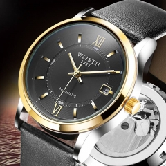 Fashion Hand-wind Leather straps male Watch Date men business Automatic Mechanical Wrist watches gold black