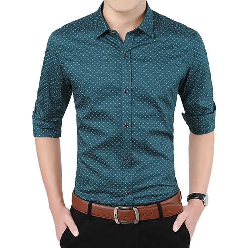 Herfst Mode Merk Mannen Kleding Slim Fit Mannen Lange Mouw Mannen Stip Casual Mannen Shirt army green 5XL