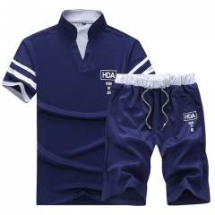 New Summer Casual Polo-shirt Set Youth Short Sleeve Stand Collar Men Polo Shirts Shorts Tracks 01 M