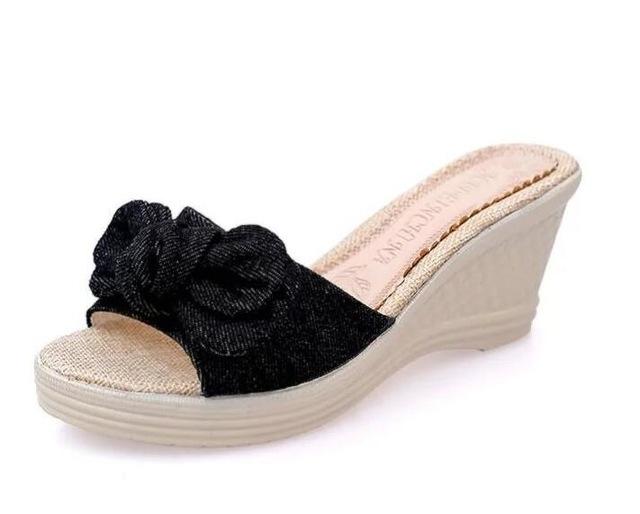 b60c12ef2 Butterfly-knot Flip Flops Summer Shoes Slippers Women Platform Shoes Woman  Wedges women shoes black
