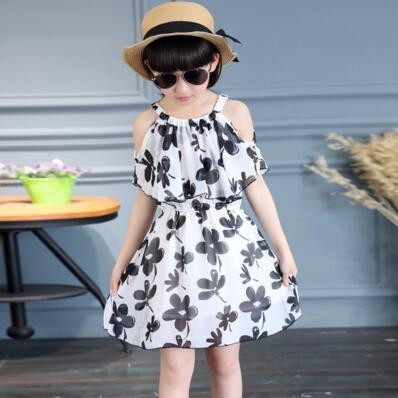 Summer Girl Dress Cotton Casual Children Clothing Cartoon Kids Dresses For Girls white 120cm(height)