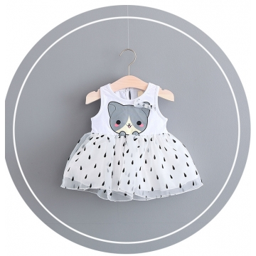 Girl dress princess baby vest skirt cute yarn dress 2017 new children's summer children's skirt white 70