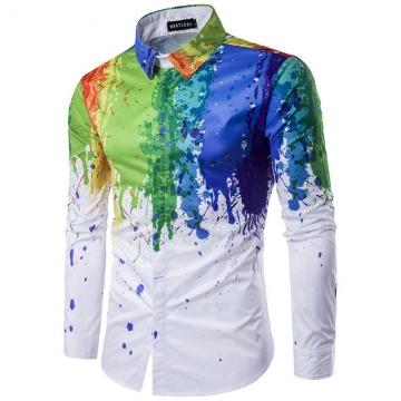 New Fashion Flowers Birds Print Men Shirt  Clothing Lapel Camisa Masculina Long Sleeve Mens Shirts #04 XL